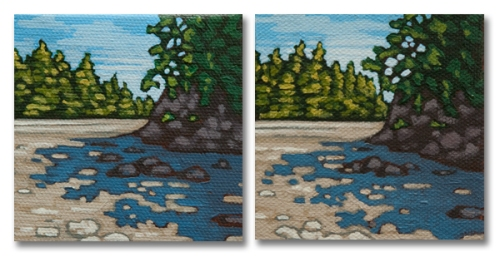 "Low Tide - two 3"" x 3"" acrylic paintings"