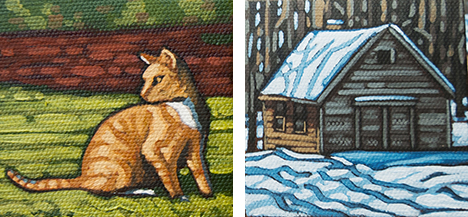 "Orange Cat & Cabin  3"" x 3"" paintings"