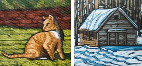 """Orange Cat & Cabin  3"""" x 3"""" paintings"""