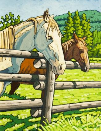 "2 Horses - study    11""x14"""