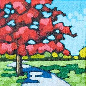 "3"" x 3"" acrylic painting"